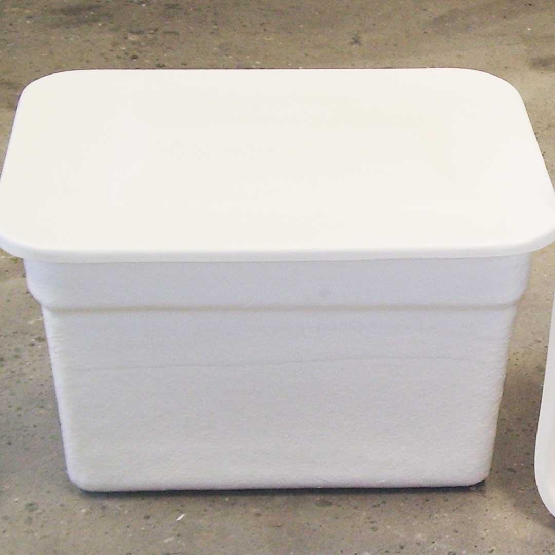 Depósito de poliéster rectangular con tapa